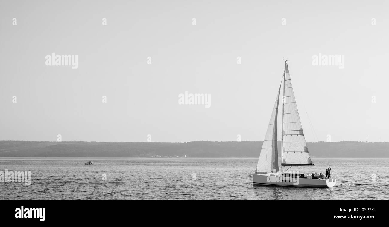 sailing ship luxury yacht black and white - Stock Image