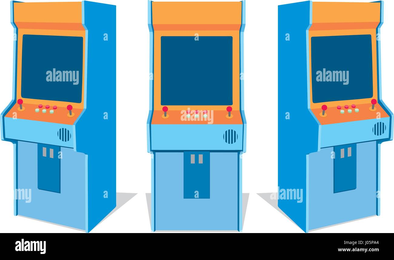 Set of old arcade game machines from different sides. Isolated vector illustration - Stock Vector