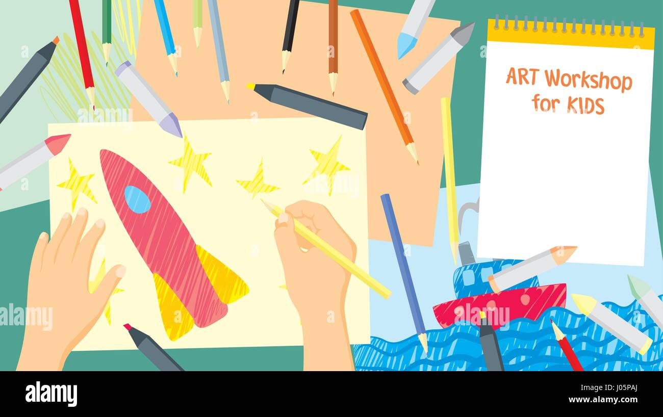 Art Workshop Kids Craft Painting And Drawing Top View Background