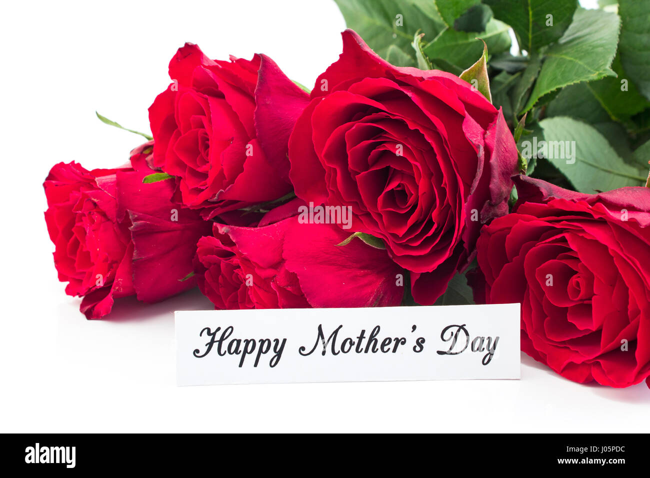 Happy Mothers Day Greeting Card With Bouquet Of Red Roses On