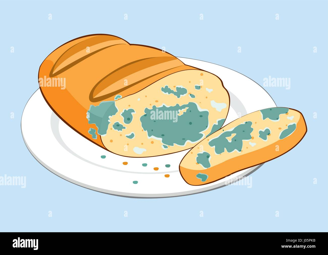 Inedible mouldy piece of bread on plate. Isolated vector illustration - Stock Vector