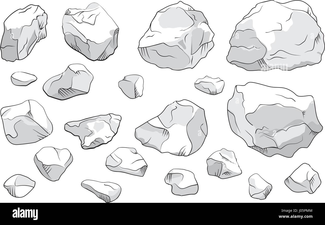 Large and small stones set on white background. Isolated vector illustration - Stock Vector