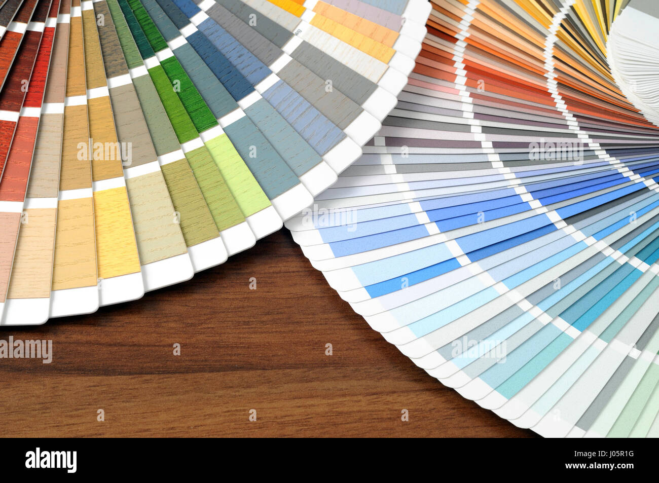 Color swatches on a table. - Stock Image