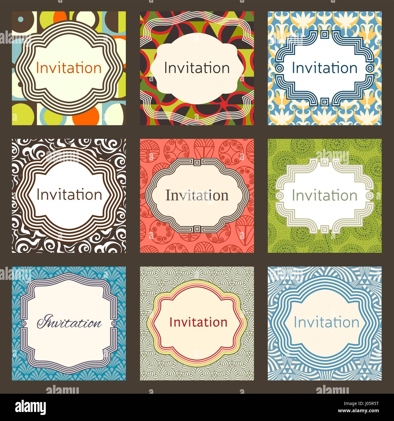 Invitation Card Design Template Set Editable Layout For