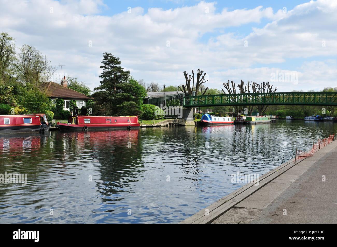 River Lea with narrowboats, near Springfield Park, North East London UK - Stock Image