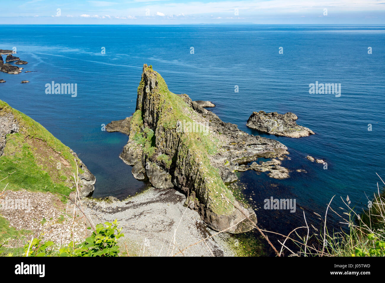 Cliff scenery at Port Moon, from the Causeway Coast footpath, County Antrim, Northern Ireland, UK Stock Photo
