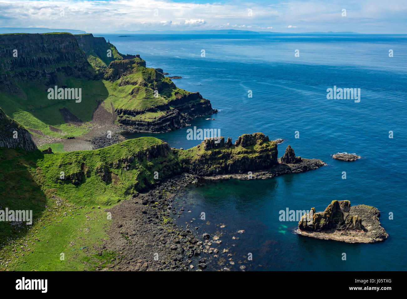 Cliff scenery at Port na Plaeskin, from the Causeway Coast footpath, County Antrim, Northern Ireland, UK Stock Photo