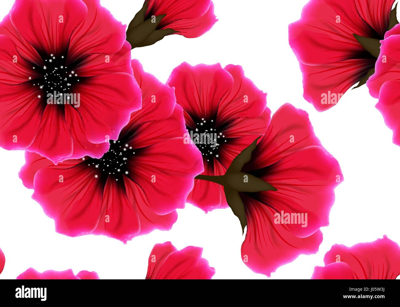 Floral Seamless Pattern With Red Flower And Pink Petal On White