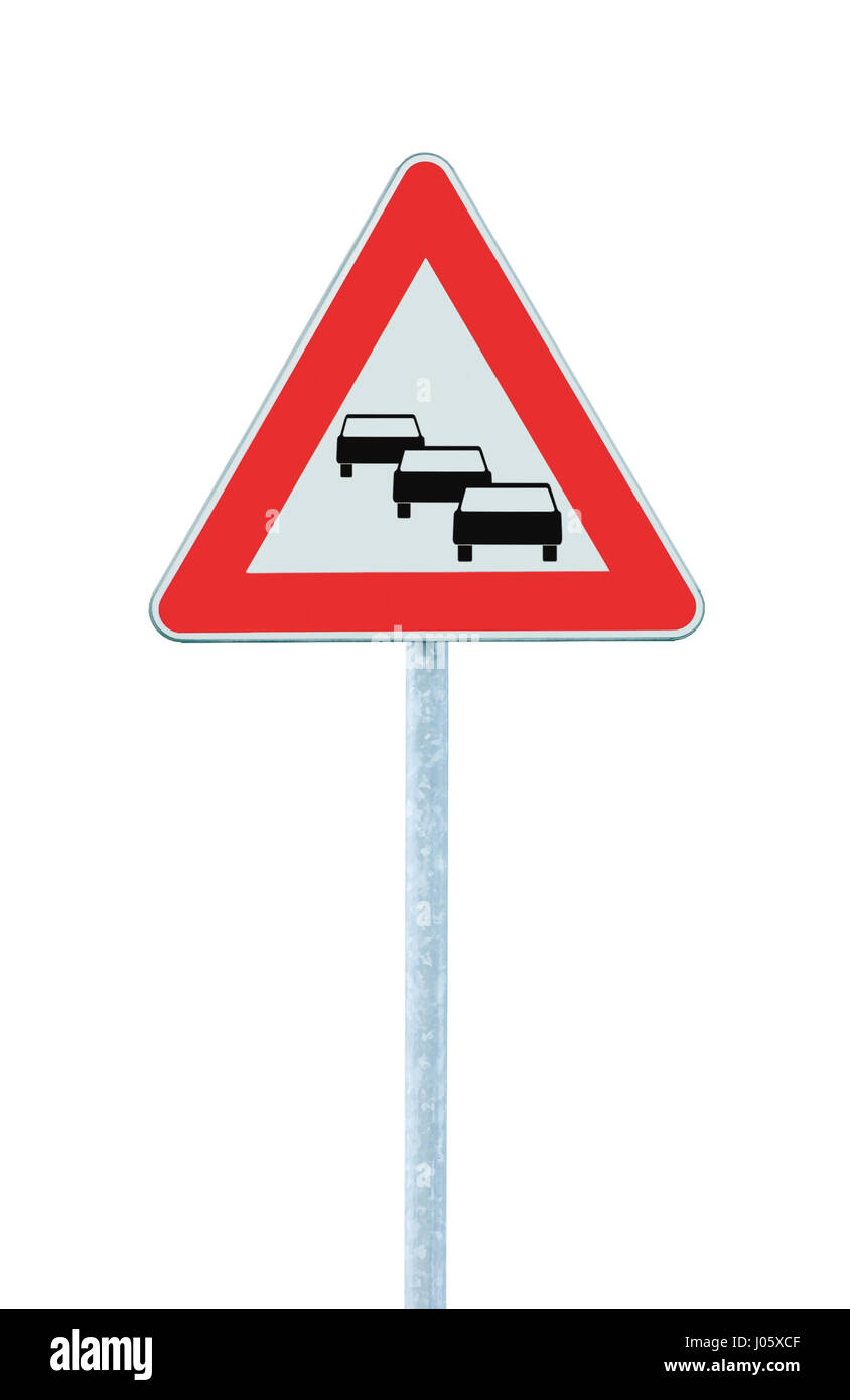 Traffic jam queues likely road sign, expect delays ahead warning isolated, traffic congestion symbol, red triangle, - Stock Image