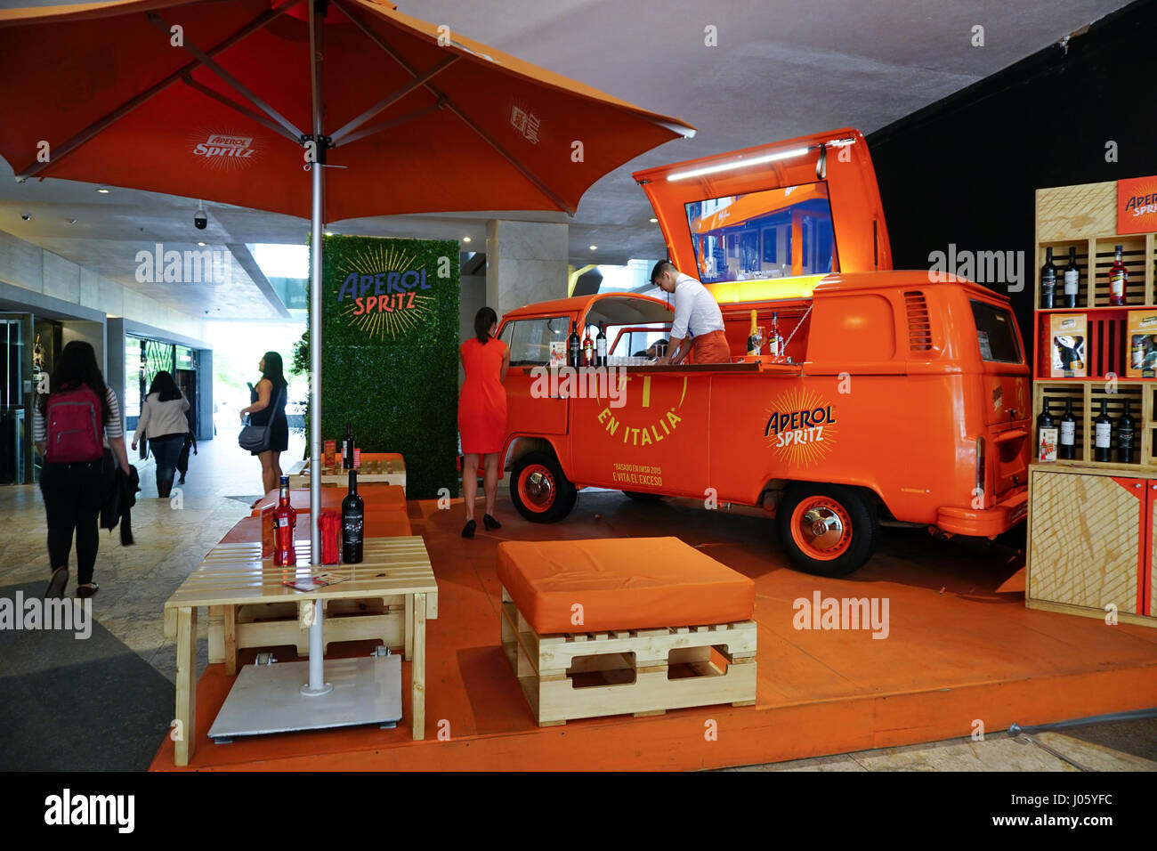 Antara Polanco shopping mall in the wealthy Polanco neighborhood of Mexico City, Mexico. Aperol stand in the mall. - Stock Image