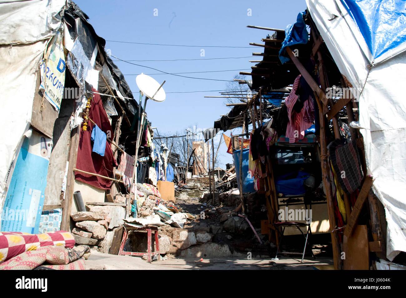 Slum, damu nagar, kandivali, mumbai, maharashtra, india, asia - Stock Image