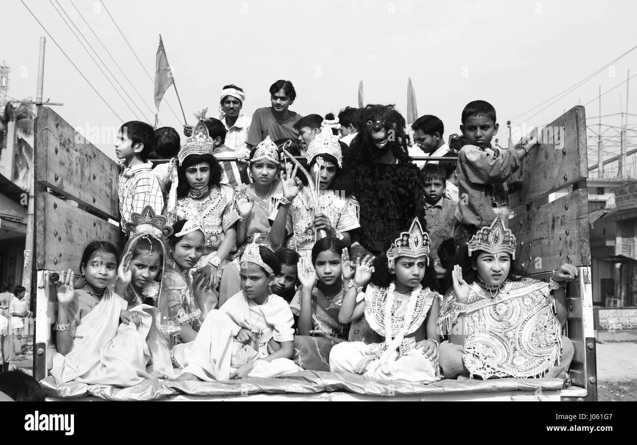 Children dressed up like gods, gujarat, india, asia - Stock Image