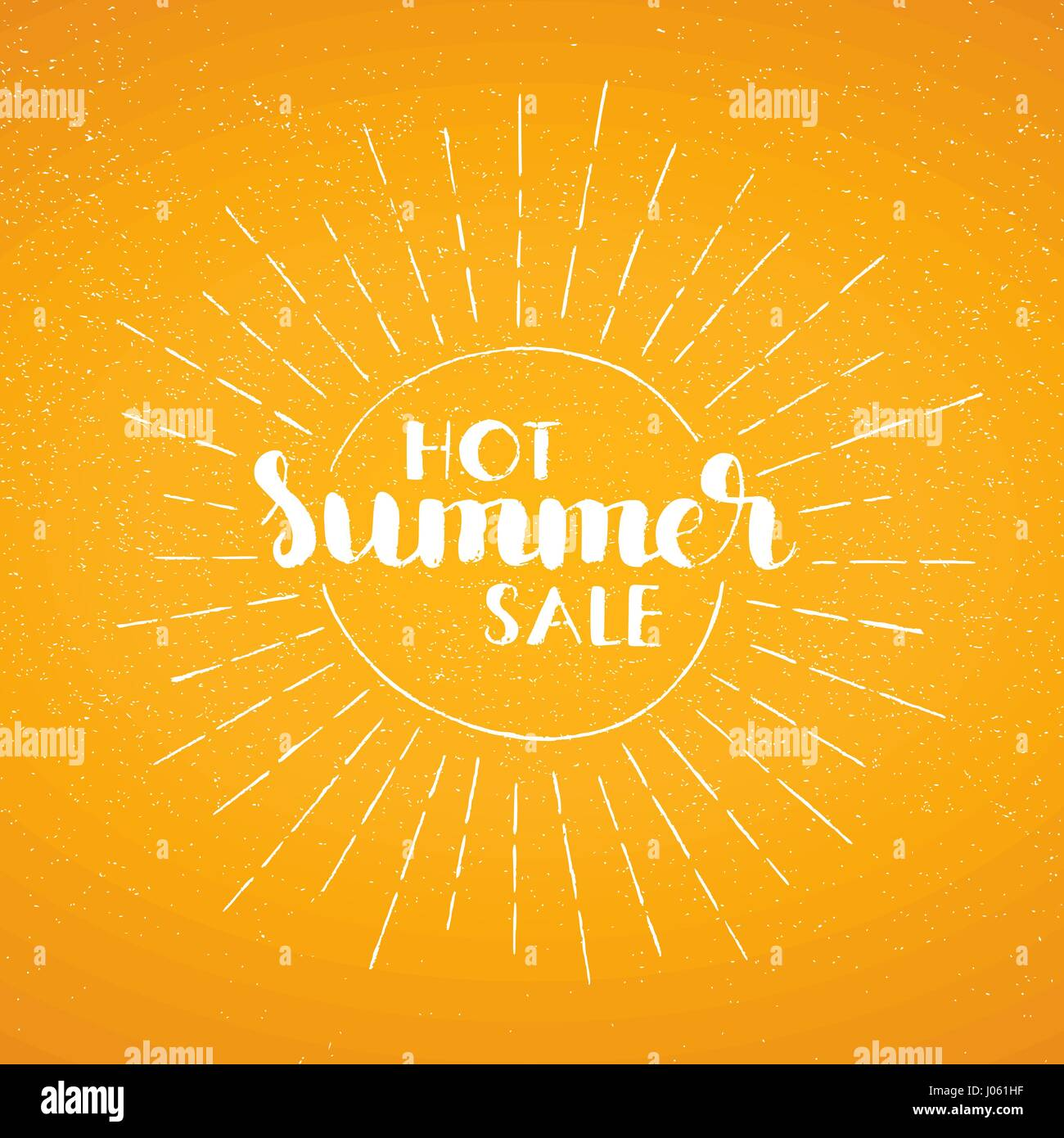 Hot Summer Sale handwritten lettering. Modern vector hand drawn calligraphy with grunge overlay texture over sunny - Stock Vector