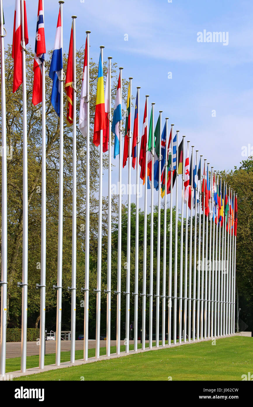 Flags of European countries near the Council of Europe in Strasbourg, France - Stock Image