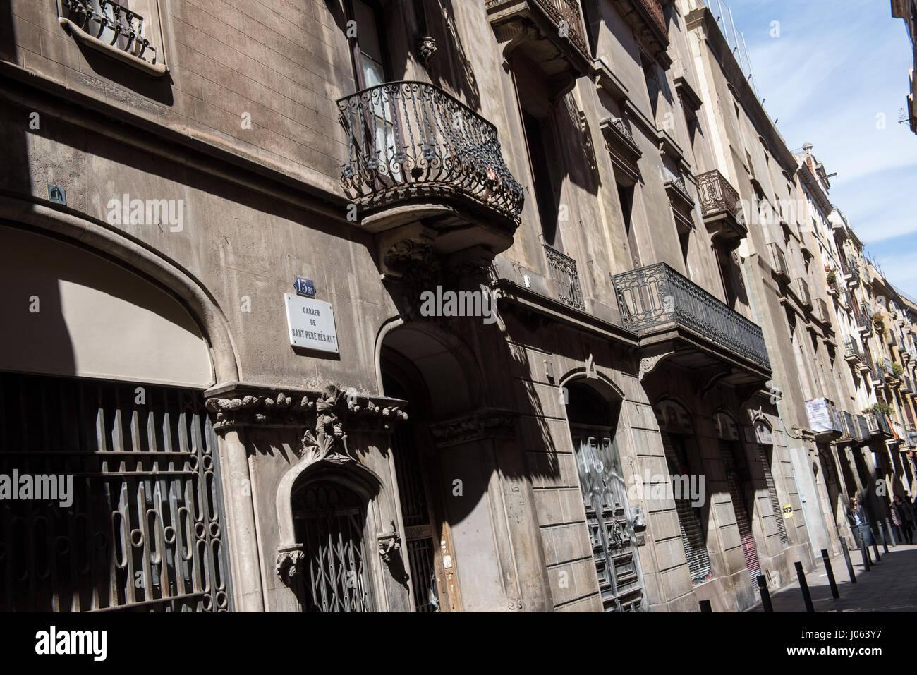 Carrer de Sant Pere Mes Alt in Barcelona, Spain Europe EU - Stock Image