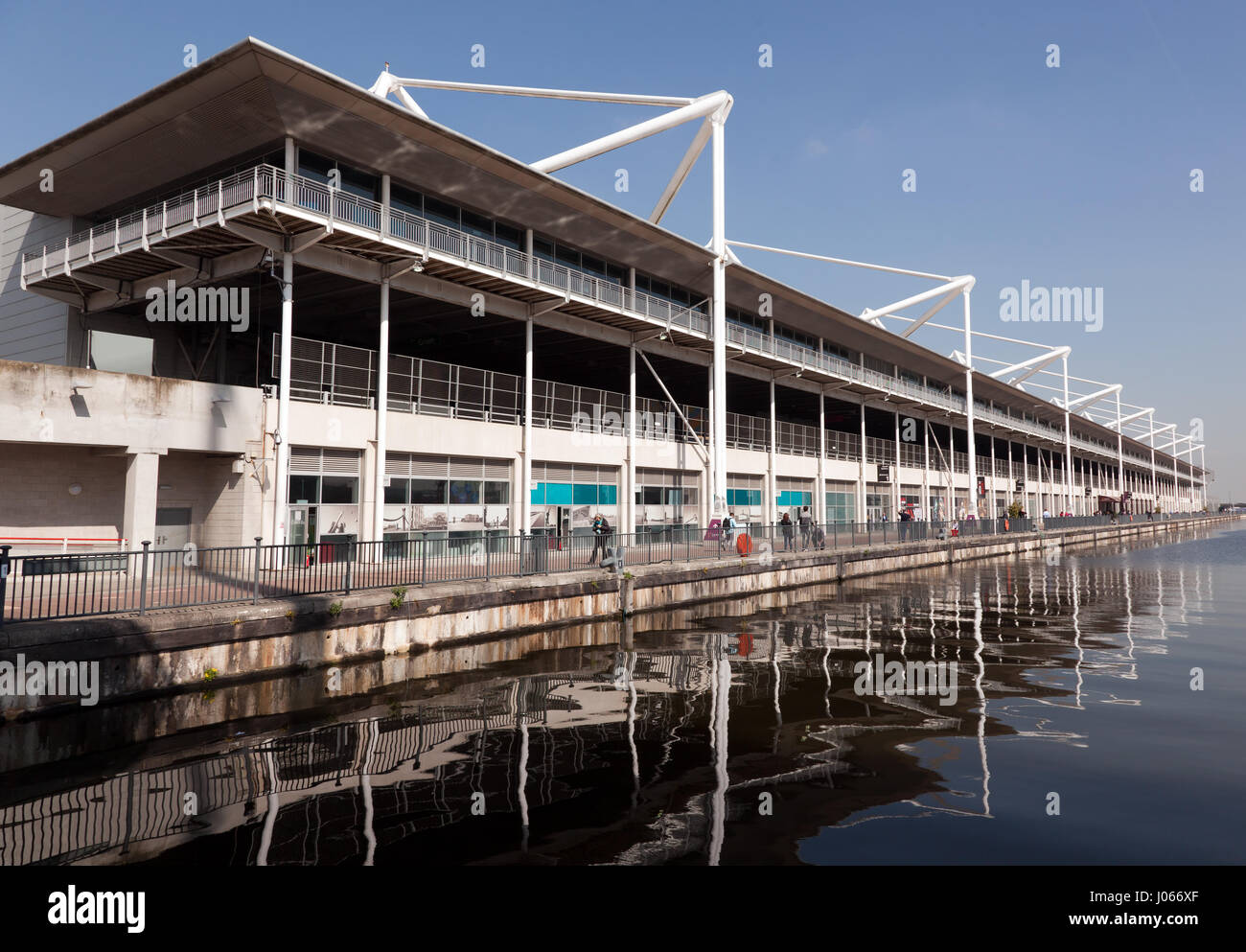 View of the waterfront section of the Excel  Exhibition Centre at the Royal Victoria Docks, Newham, London - Stock Image