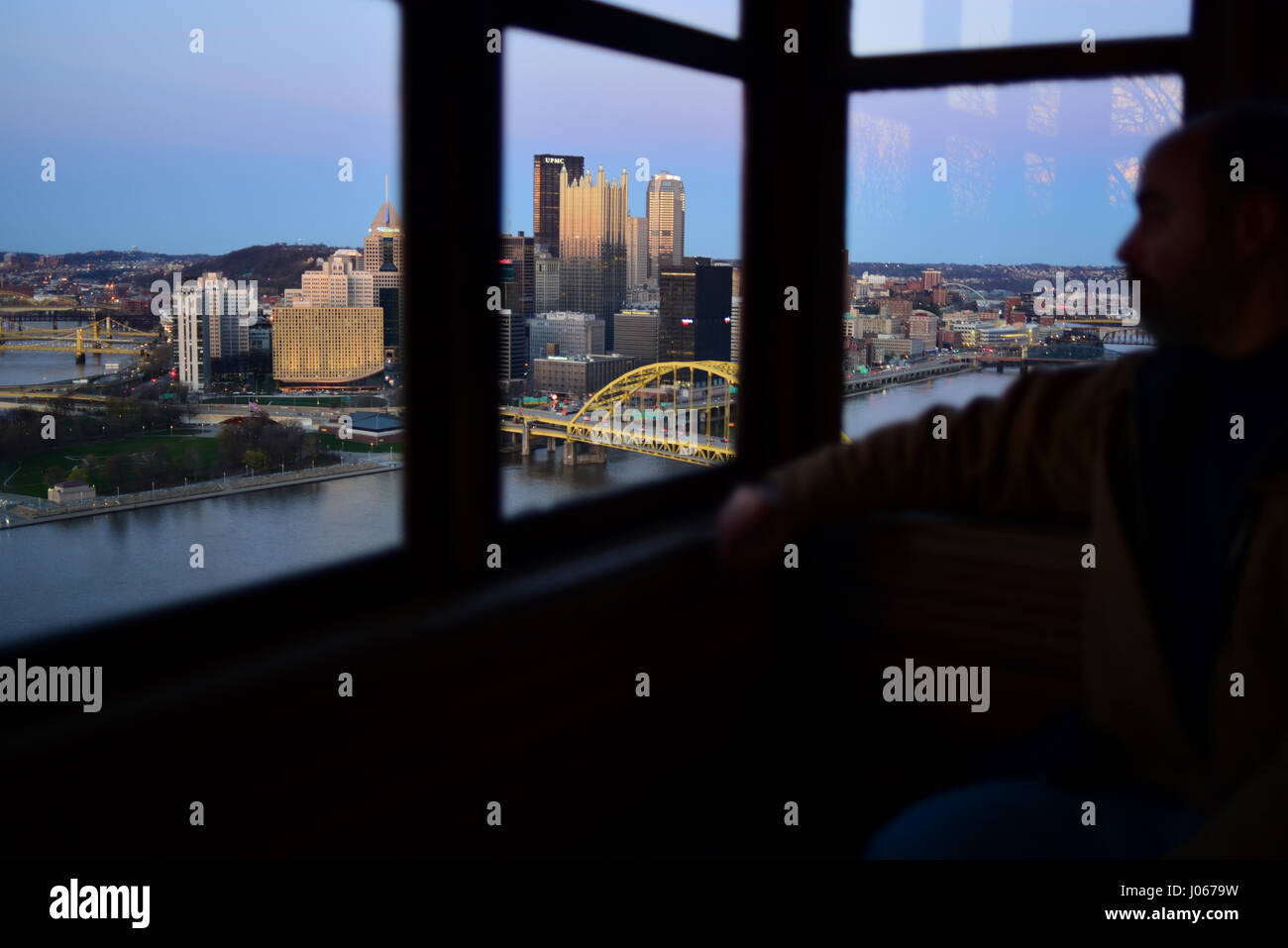 USA Pennsylvania PA Pittsburgh Riding The Duquesne Incline view of the city at dusk - Stock Image