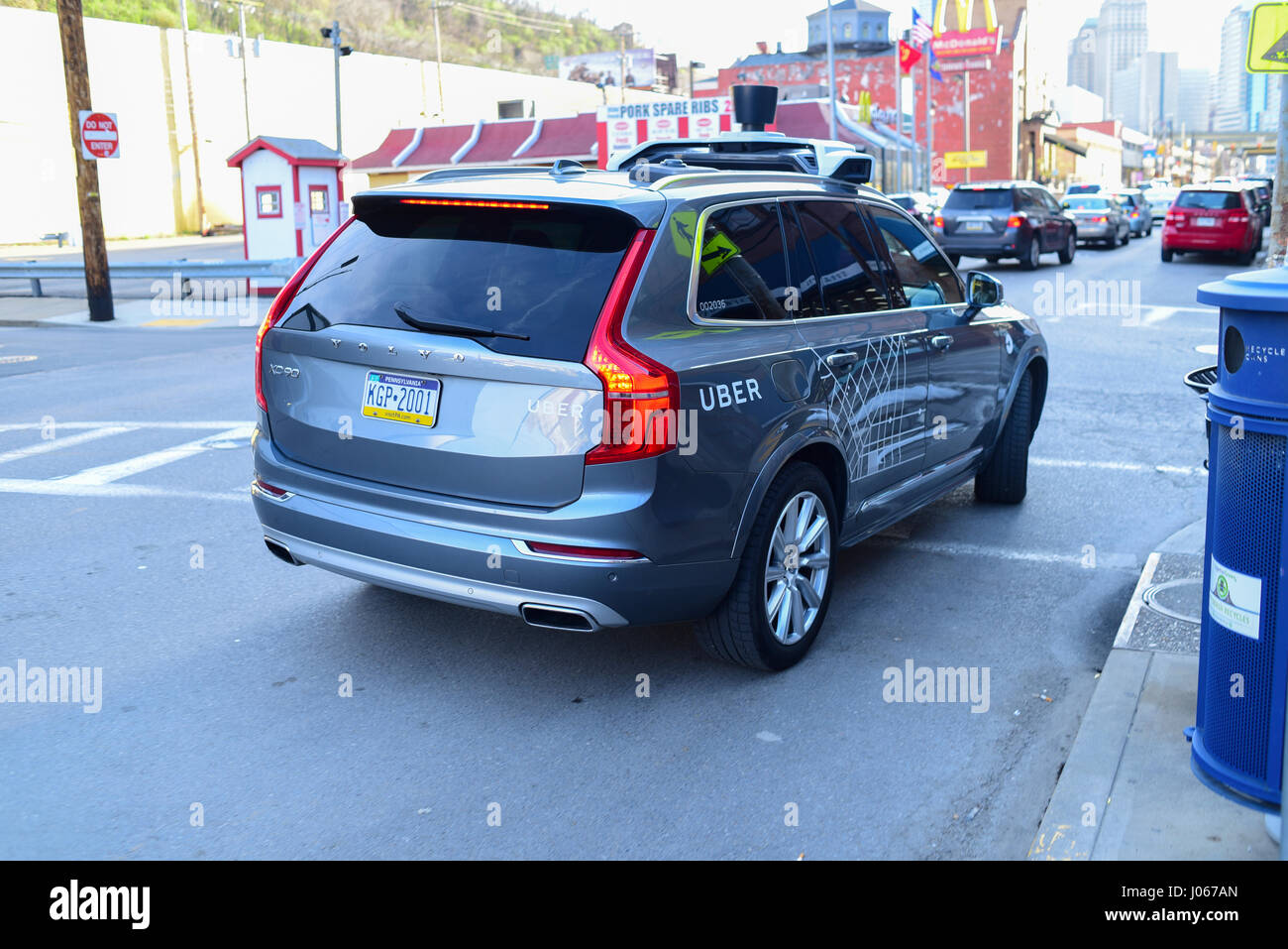 An UBER SUV Taxi car in Pittsburgh Pa Stock Photo