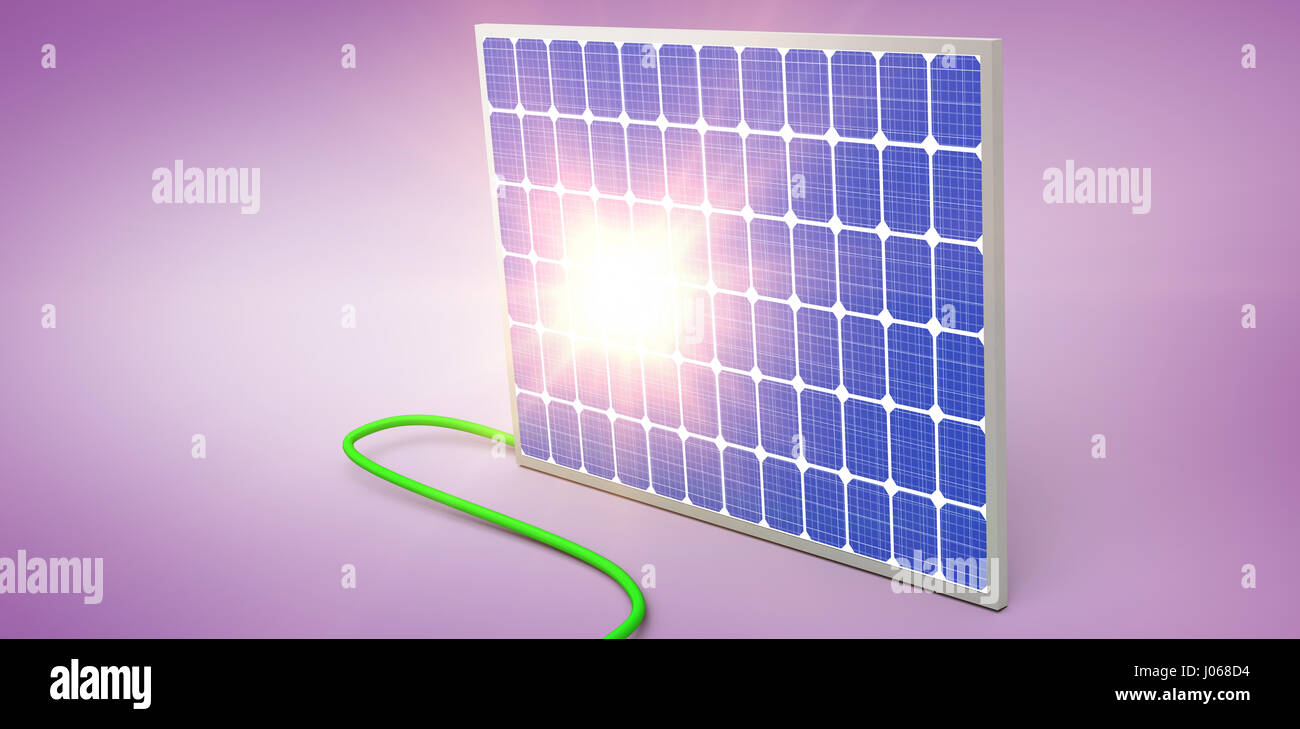 Digital composite of 3d solar panel against graphic background - Stock Image