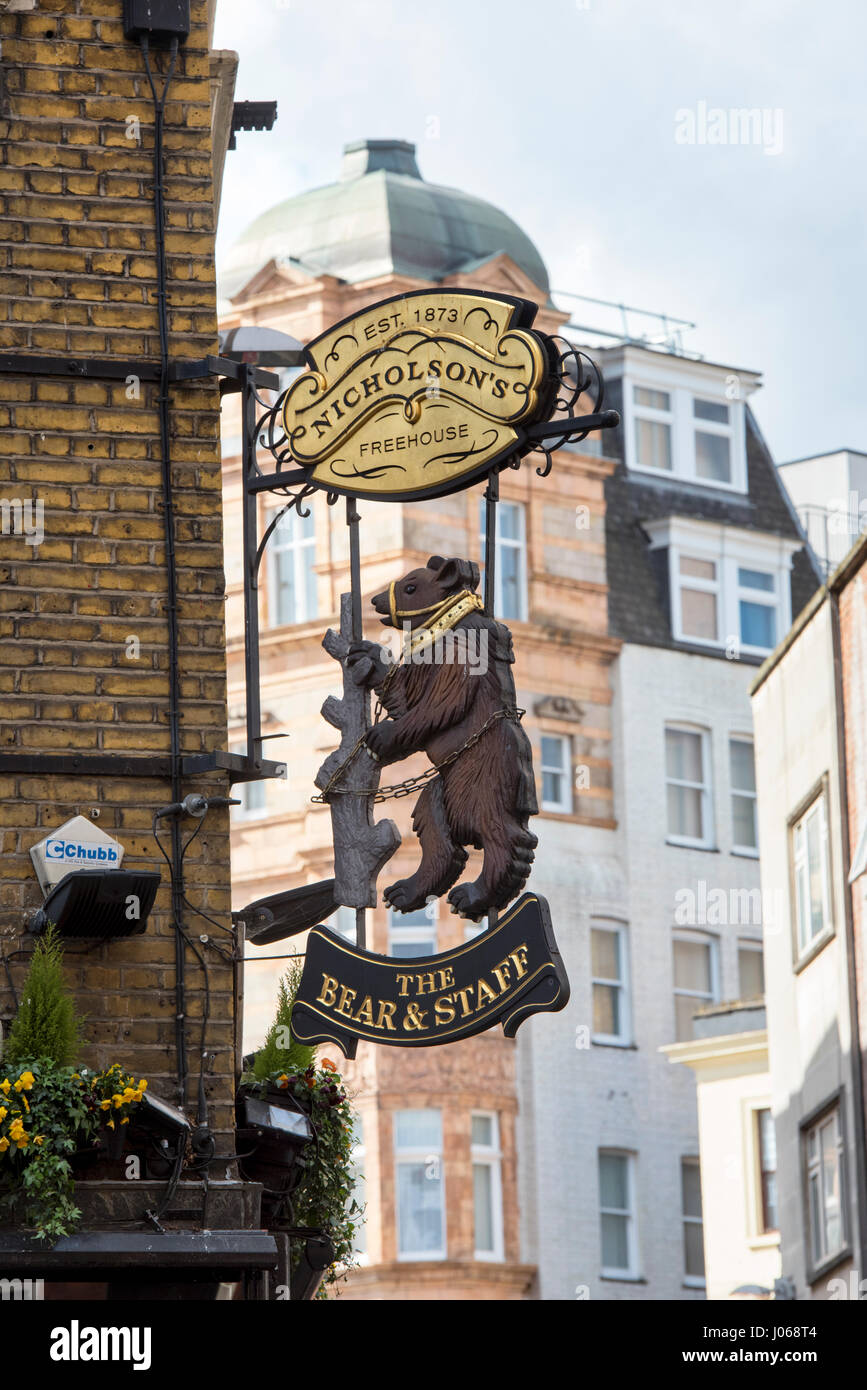 The Bear and Staff pub sign. Bear Sreet and Charing Cross, London - Stock Image