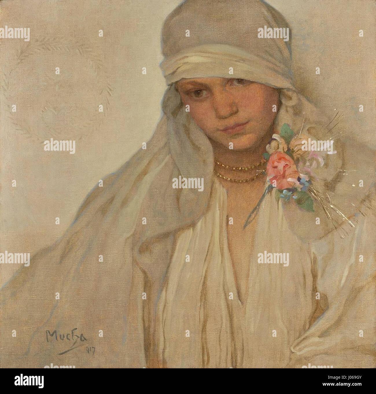 Alfons Mucha (1860-1939) - Nevěsta - Stock Image