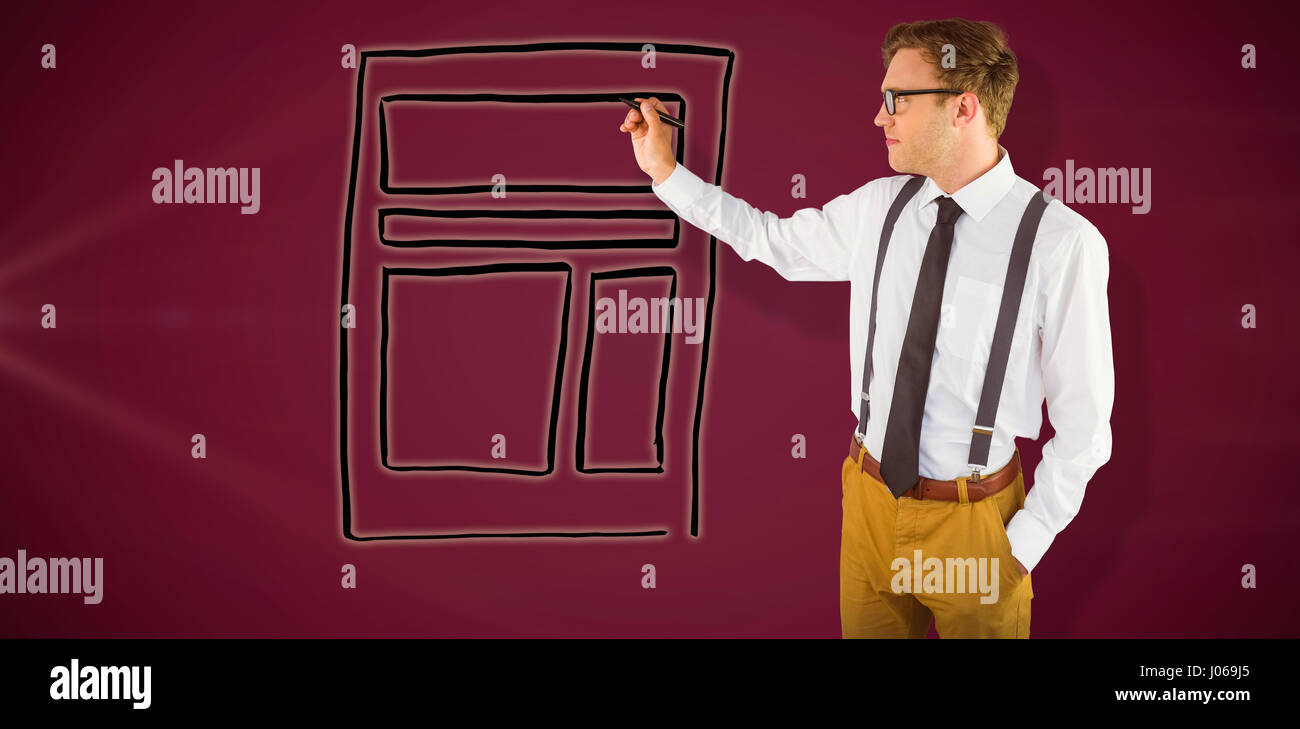 Geeky businessman writing with marker against pink background - Stock Image