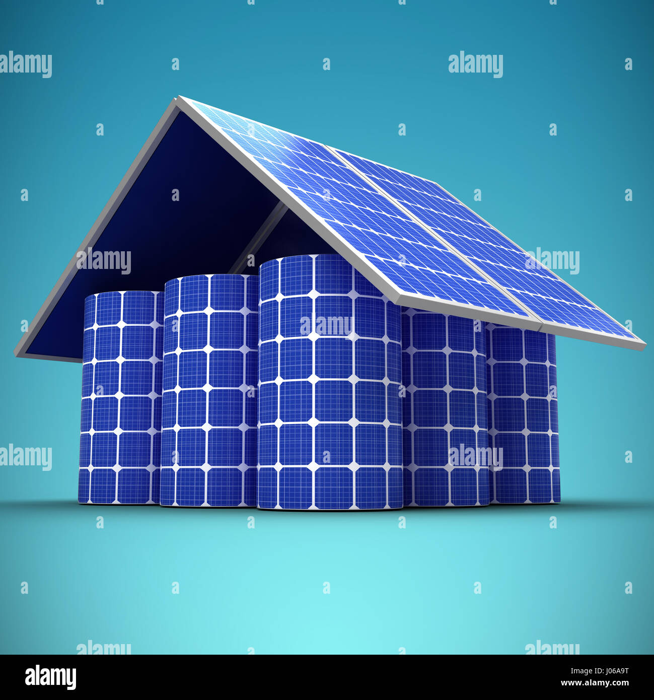 3d image of house made from solar panels and cells against blue vignette background - Stock Image