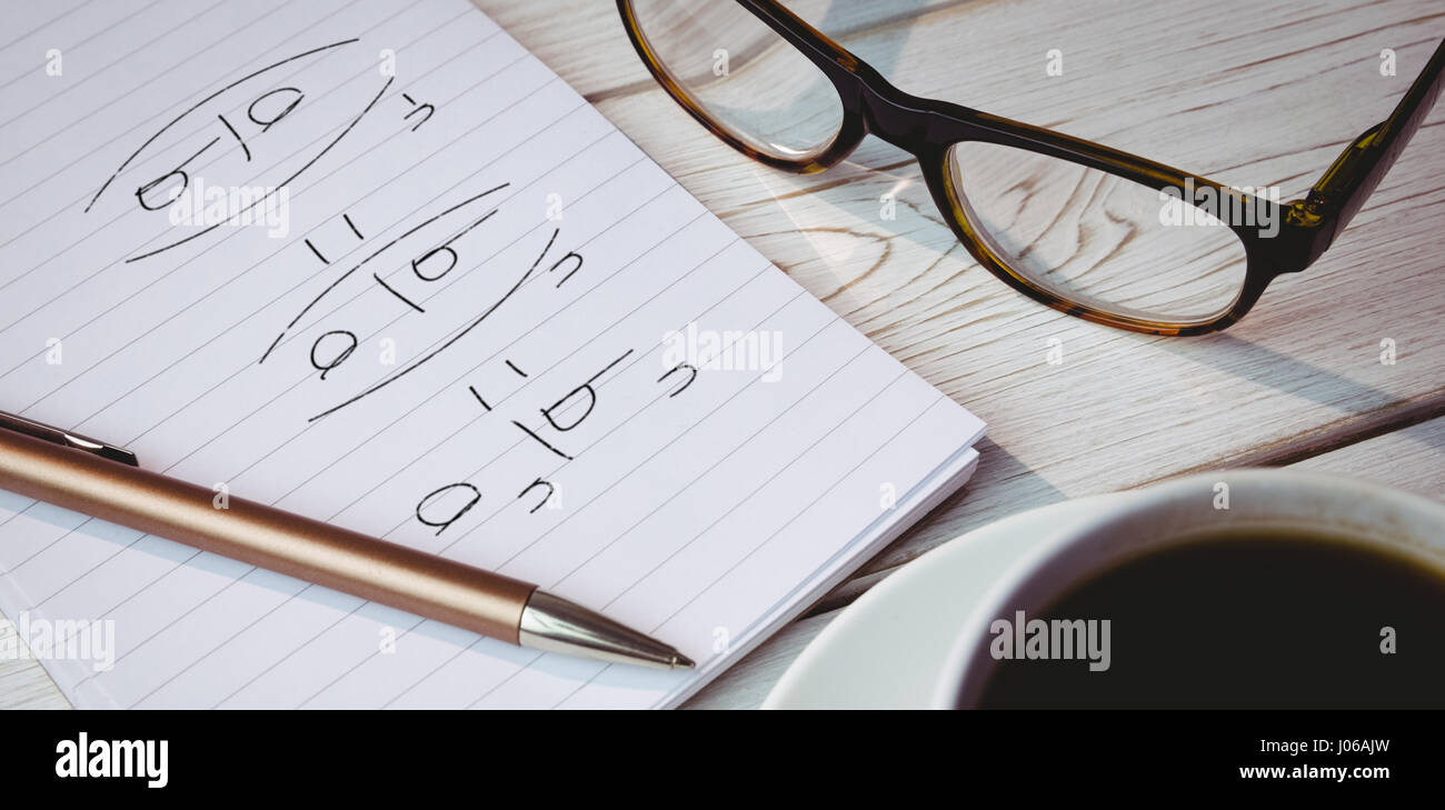 Divisions over black background against high angle view of objects on table - Stock Image