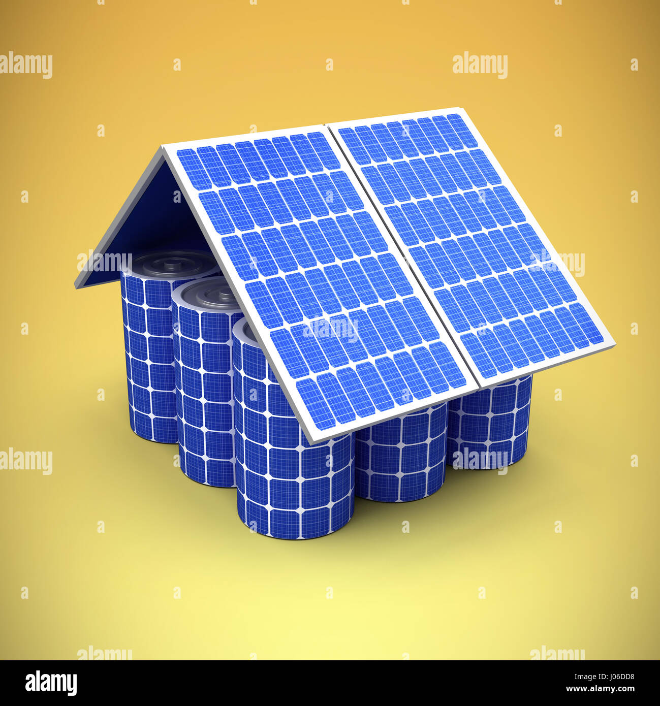 3d image of model house made from solar panels and cells against yellow vignette - Stock Image