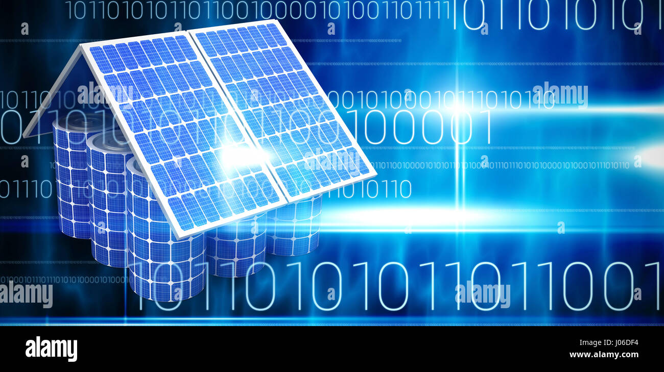 3d image of model house made from solar panels and cells against blue technology design with binary code - Stock Image