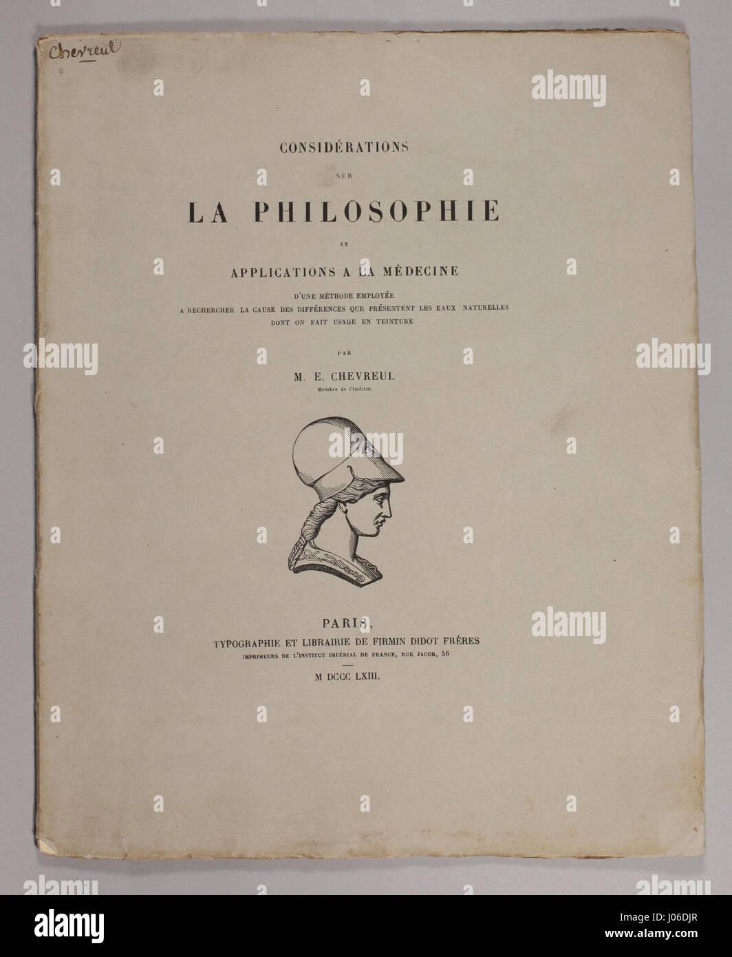 Michel Eugène Chevreul 1863 Considerations sur la philosophie Stock Photo