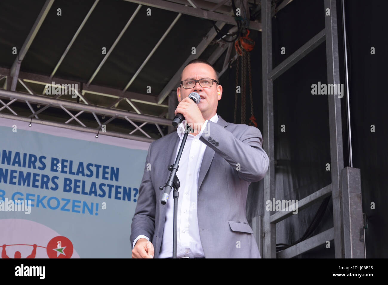 Spokesman of the Labor Party of Belgium Raoul Hedebouw speaks during National Manifestation in Brussels, Belgium, - Stock Image