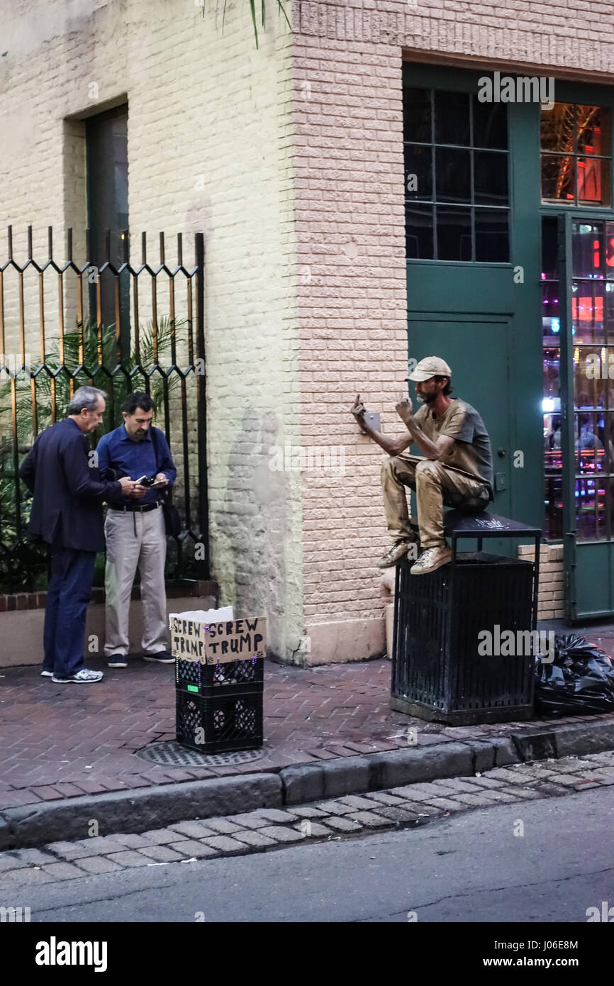 A man protesting against Donald Trump in New Orleans during the 2016 Presidential Election. - Stock Image
