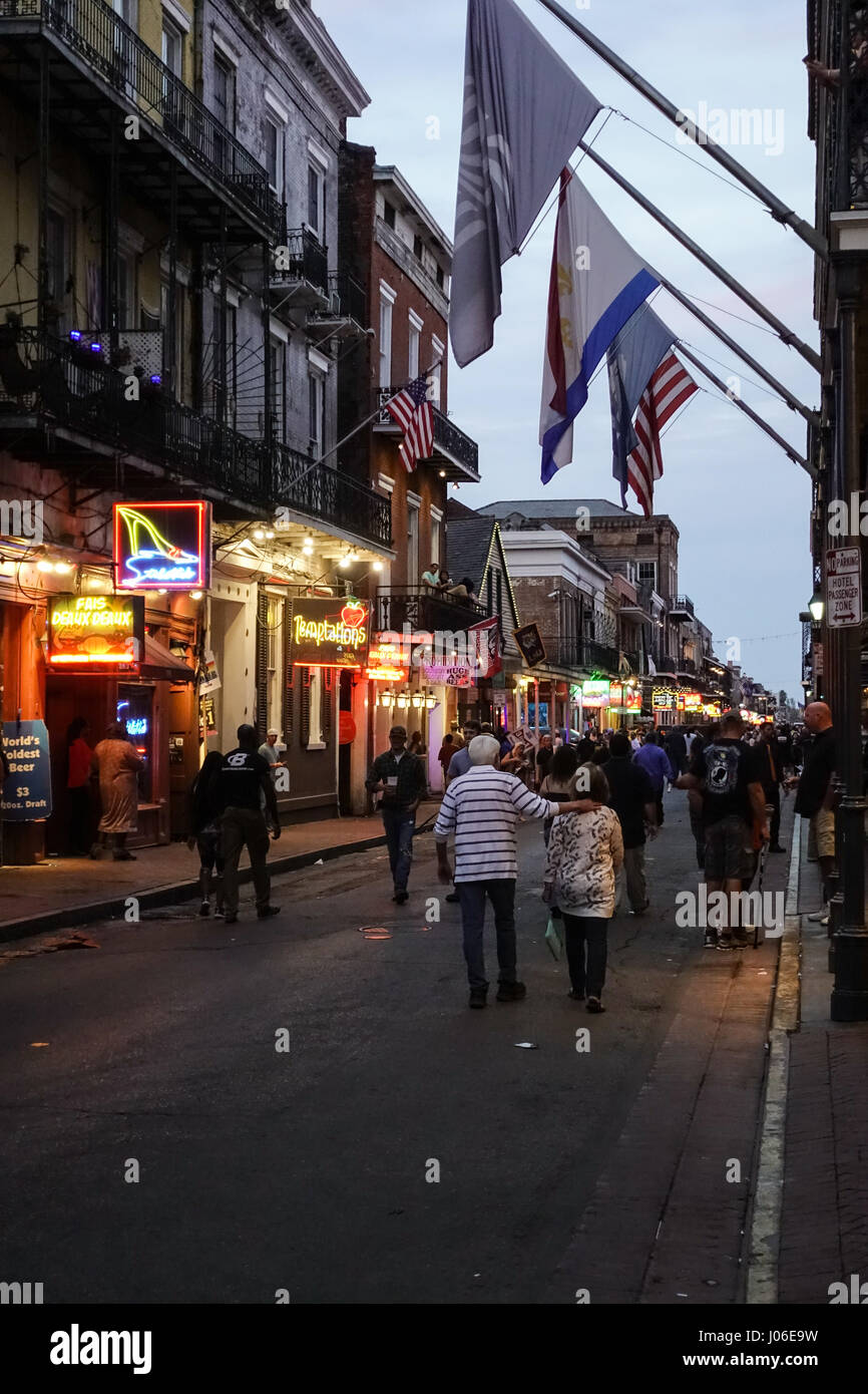 Bourbon Street, New Orleans at the start of the evening - Stock Image