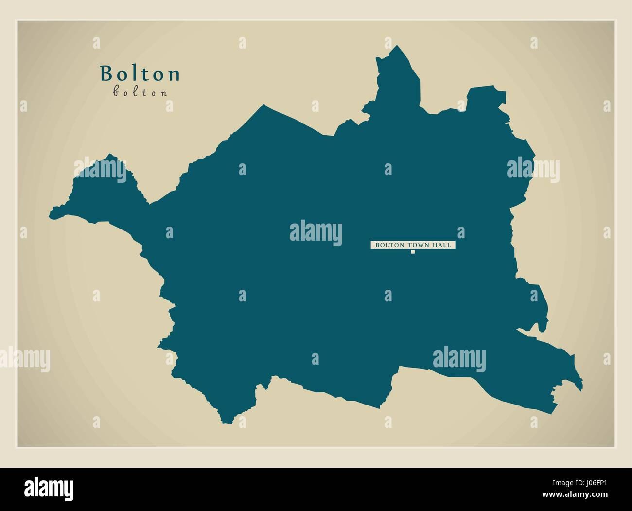 Bolton borough Greater Manchester UK England - Stock Vector
