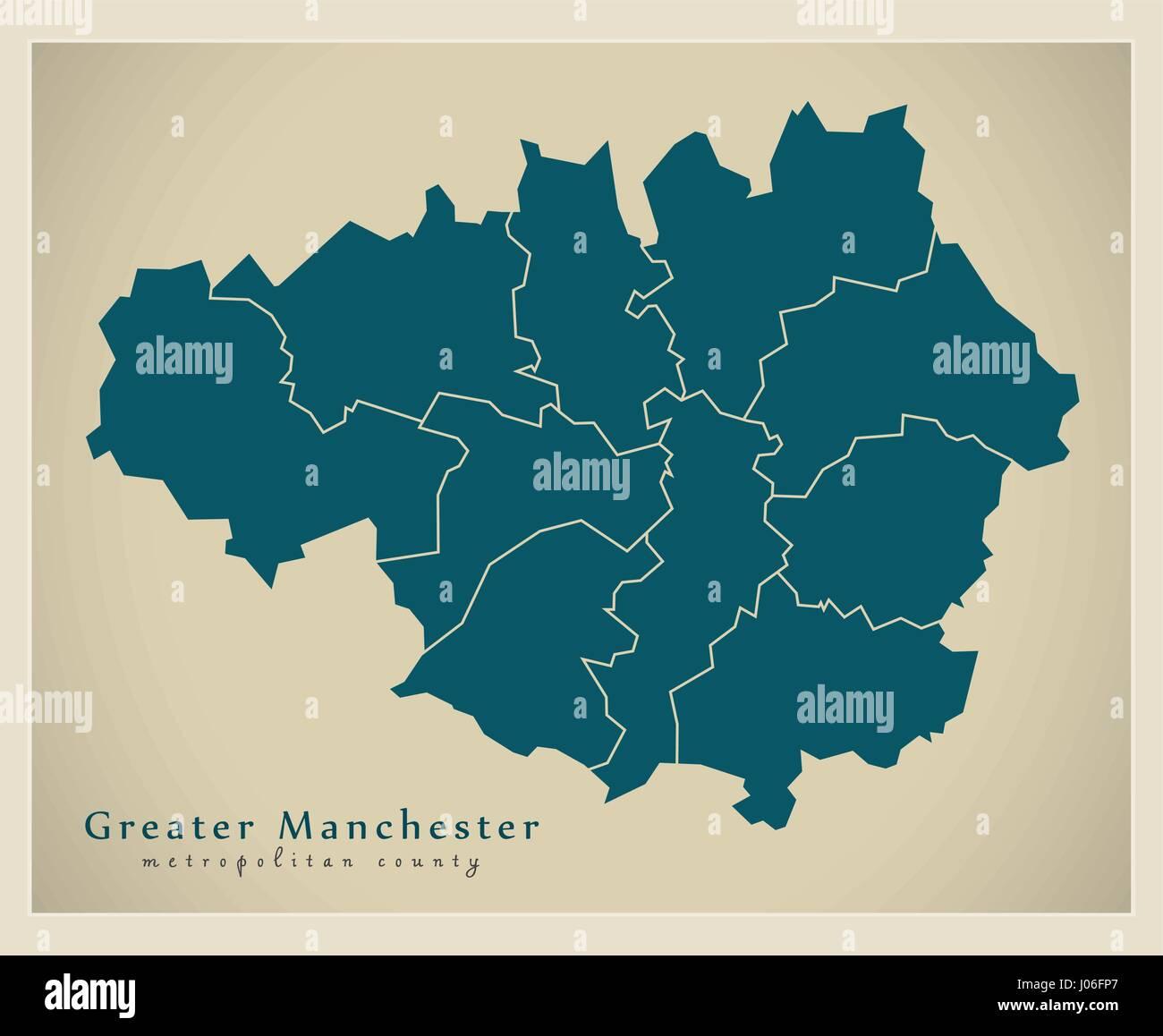 modern map greater manchester metropolitan county uk