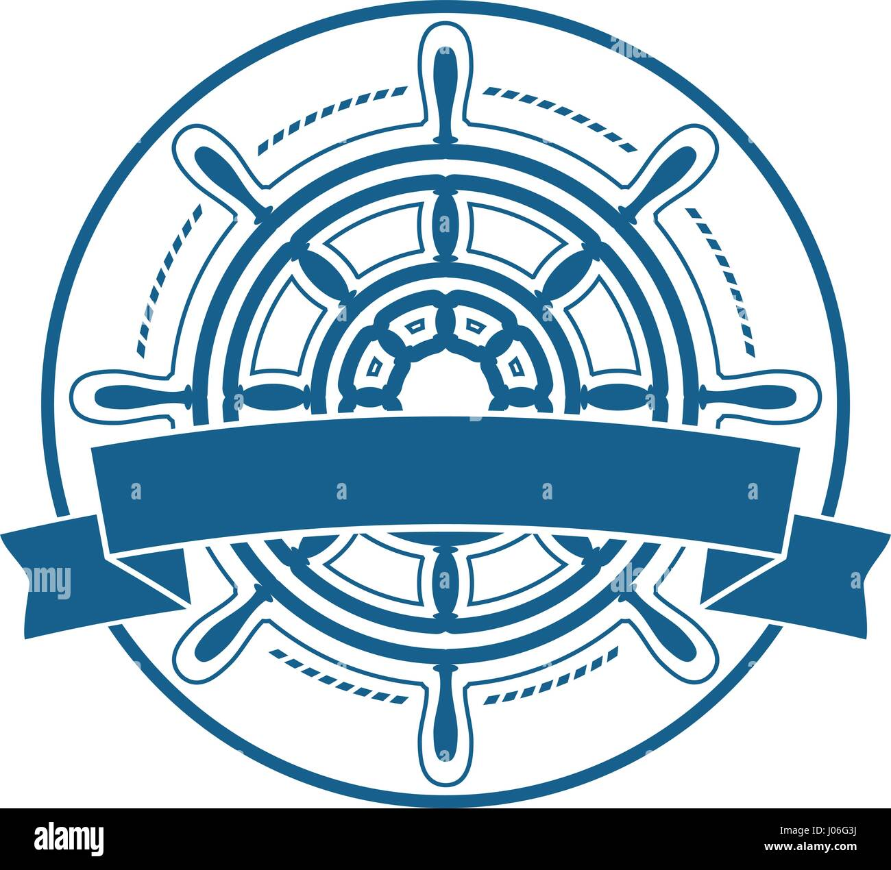 0e78924f7 Ship steering wheel emblem with banner Stock Vector Art ...