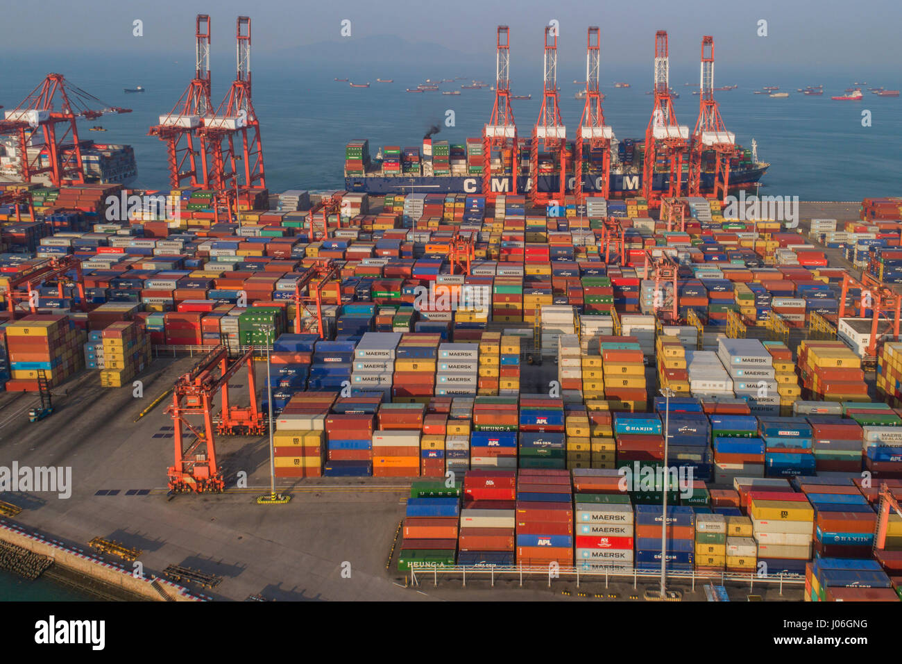 A section of Shenzhen port viewed from the air near Shekou, Nanshan. Shenzhen is the second busiest port in China - Stock Image