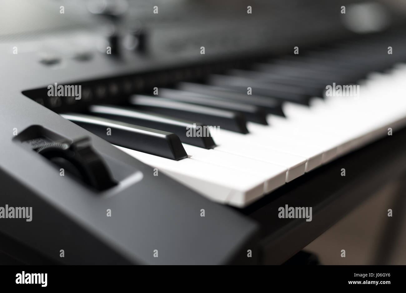 Professional midi keyboard synthesizer with knobs and controllers. - Stock Image