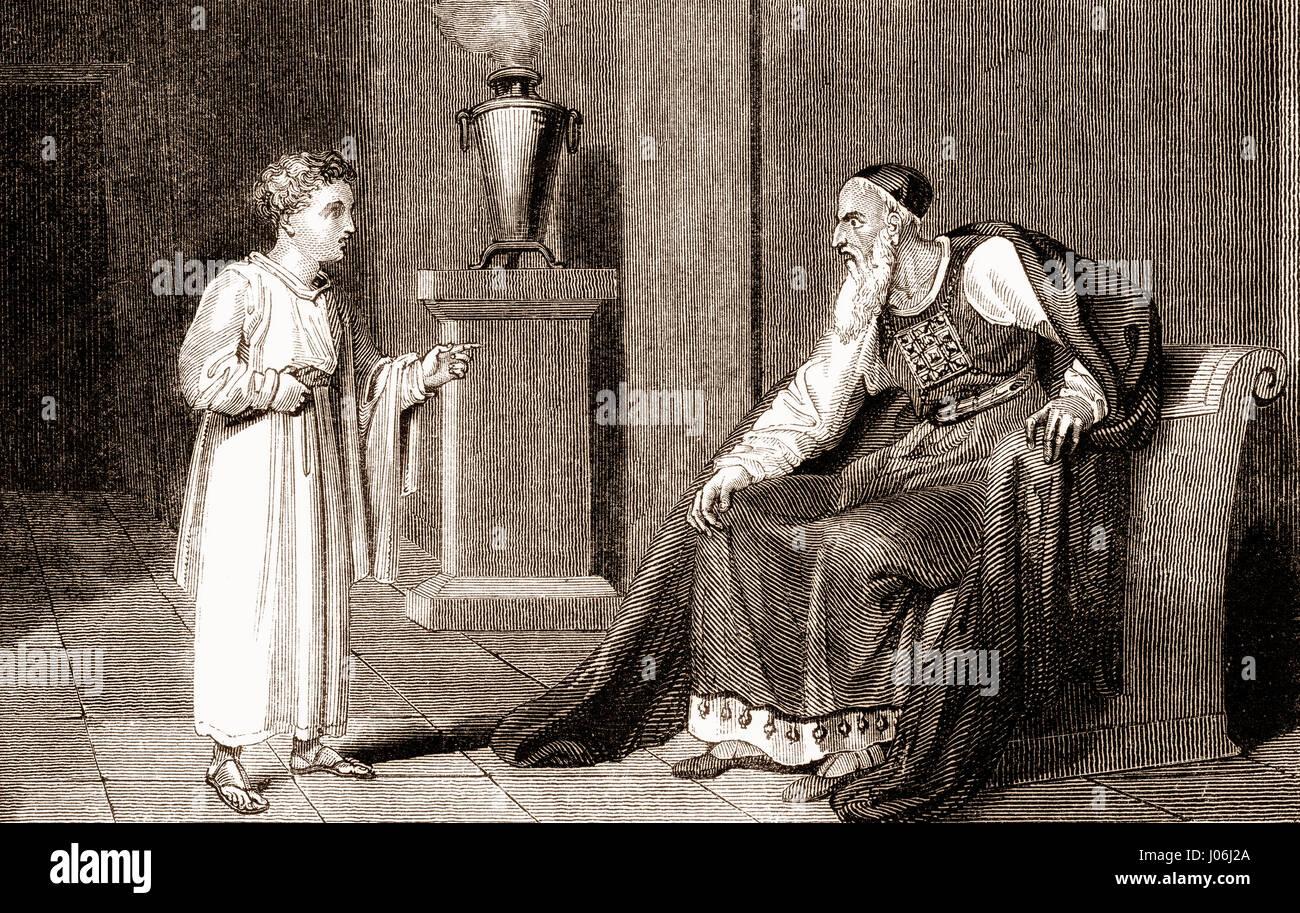 Samuel and Eli, Books of Samuel, Old Testament, Hebrew Tanakh - Stock Image