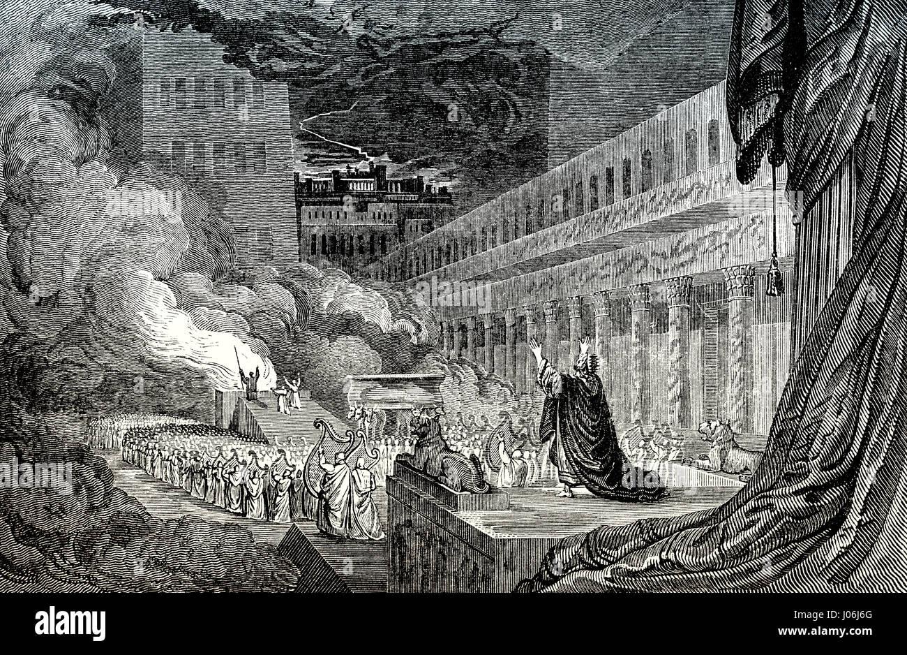 Solomon dedicates the First Temple at Jerusalem, Old Testament, Hebrew Tanakh - Stock Image
