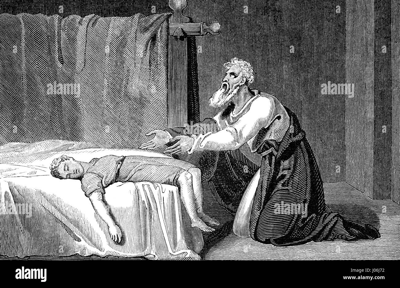 Elijah and the son of the Widow of Zarephath, Books of Kings, Old Testament, Hebrew Tanakh - Stock Image
