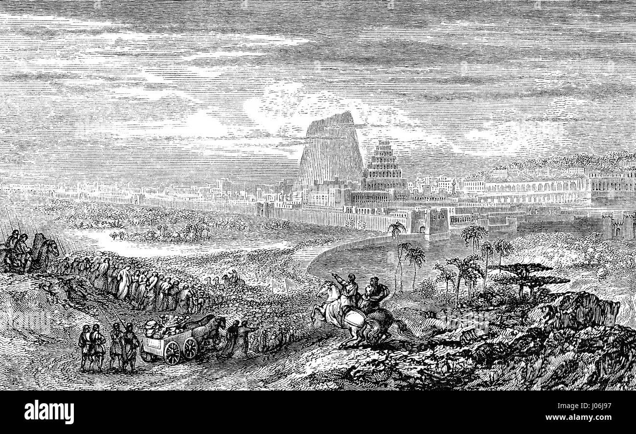 The Babylonian captivity or Babylonian exile,  Old Testament, Hebrew Tanakh - Stock Image