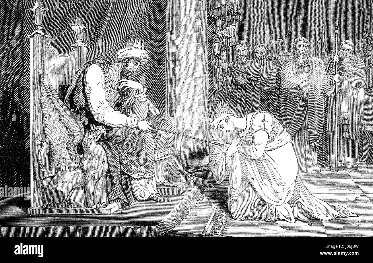Esther before Ahasuerus, Book of Esther, Old Testament, Hebrew Tanakh - Stock Image