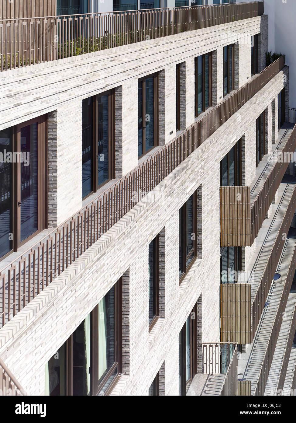 Terrace. 55 Victoria Street, London, United Kingdom. Architect: Stiff + Trevillion Architects, 2016. - Stock Image