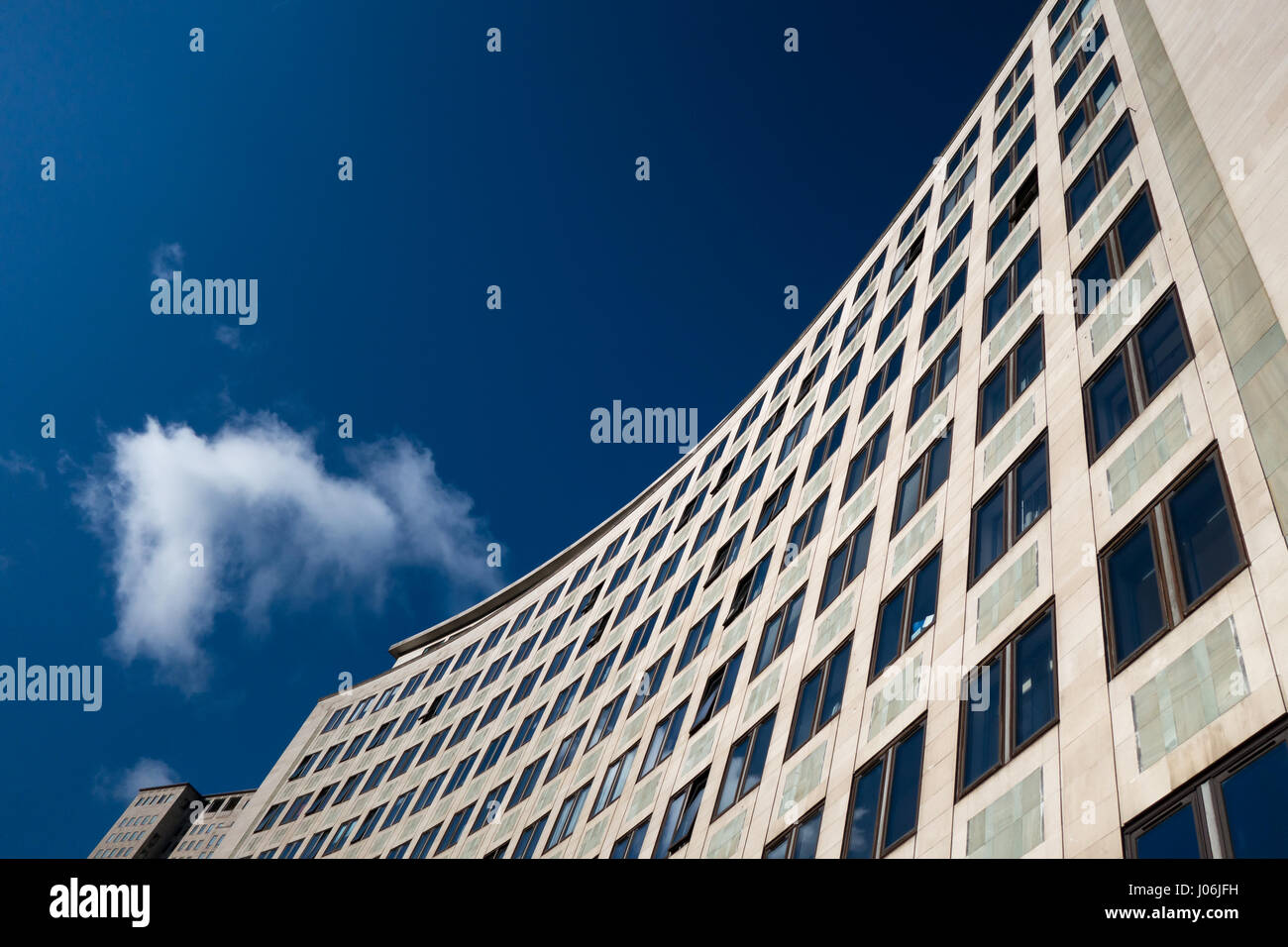 Portland stone facade of The Whitehouse by London Southbank - Stock Image
