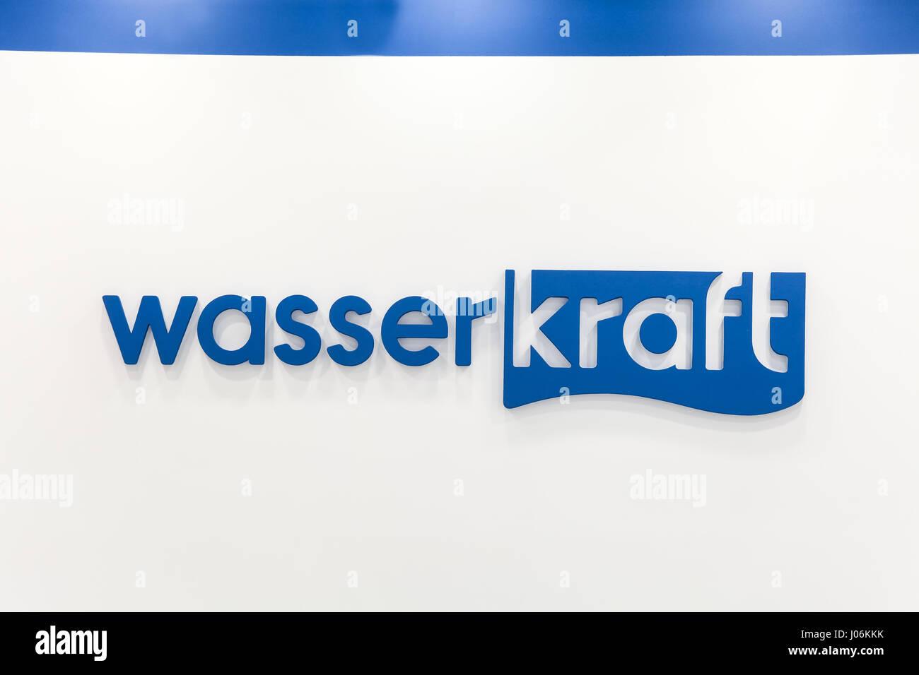 Logo sign of Wasser Kraft company. Wasserkraft is a German producer ...