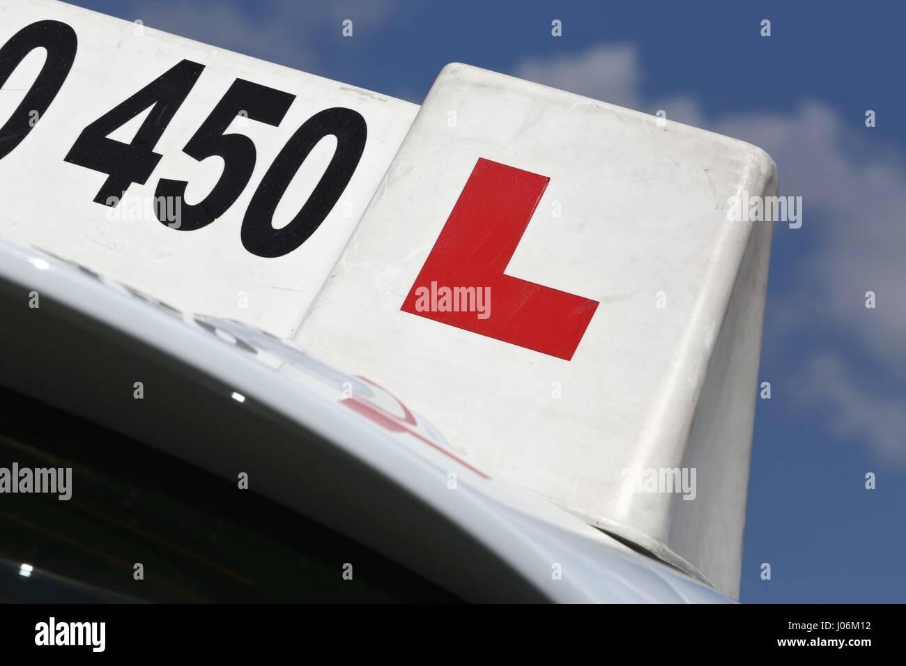 British driving school car sign Stock Photo
