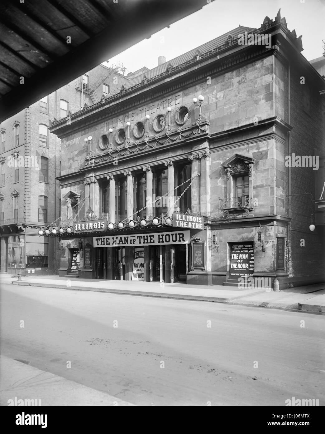 Illinois Theater, Chicago, Illinois, USA, Detroit Publishing Company, 1900 - Stock Image