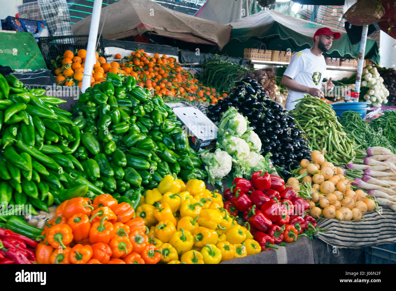 fruits and vegetables on display in a market stall in agadir